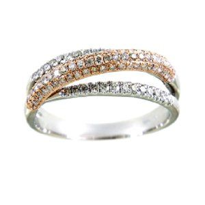 Real Diamond Twisted Liner Band Multi Tone Gold